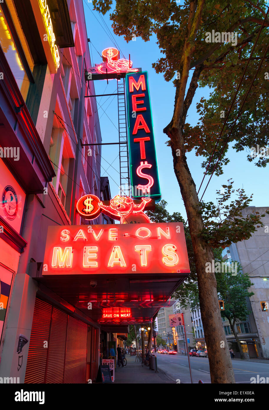 Save On Meats sign, Vancouver, British Columbia, Canada - Stock Image