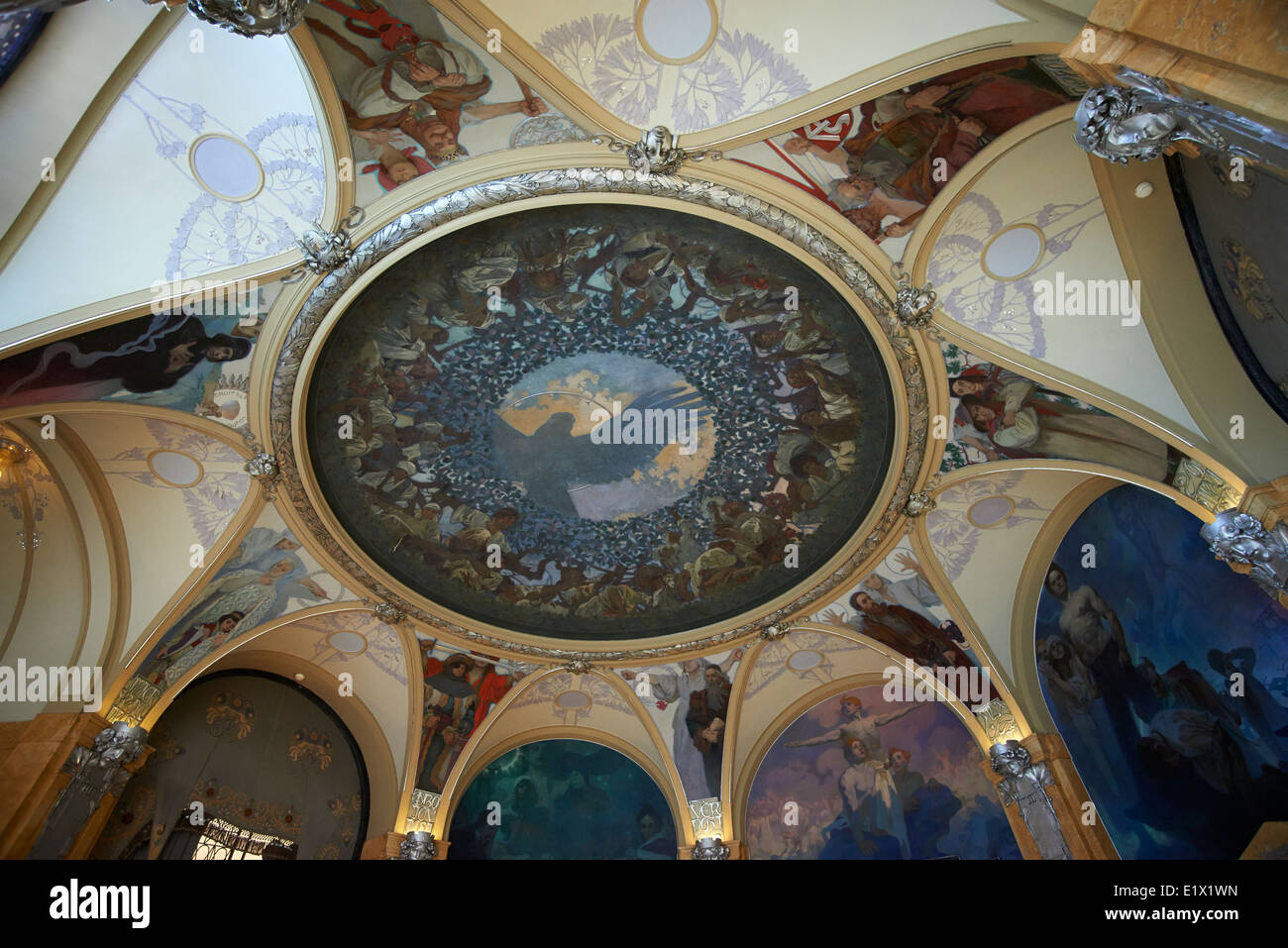 Ceiling Decoration (Murals) in Lord Mayor's Hall in Municipal House by Alfons Mucha (Art Nouveau), Prague Czech Stock Photo