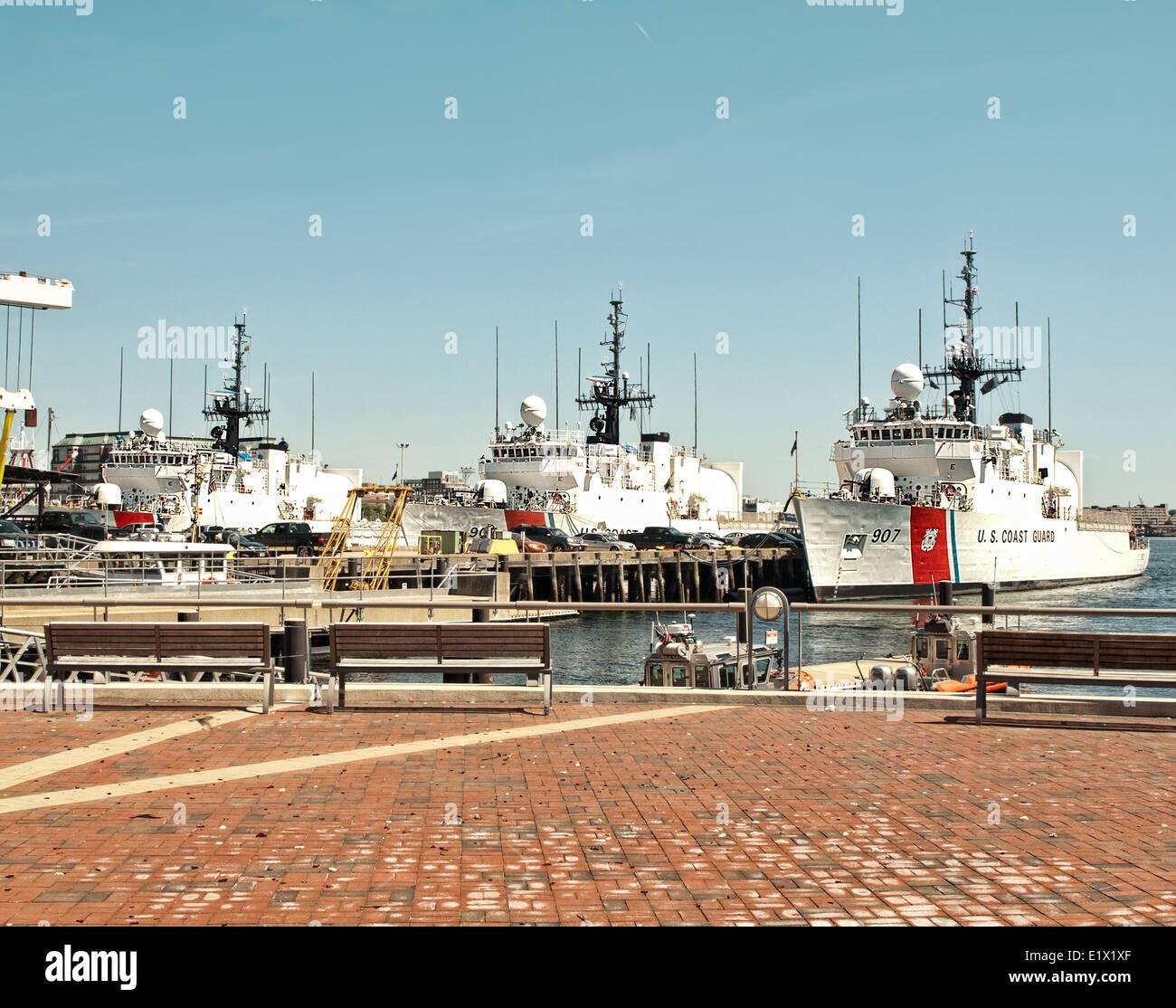 Coast Guard Ships docked in Boston Harbor Stock Photo