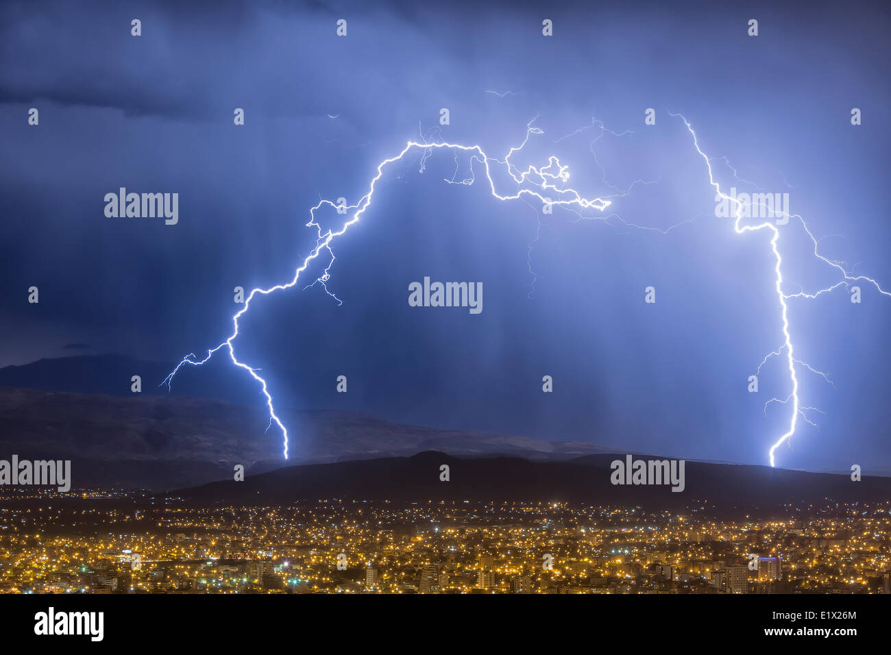 Lightning during a thunderstorm over the city of Cochabamba, Bolivia Stock Photo