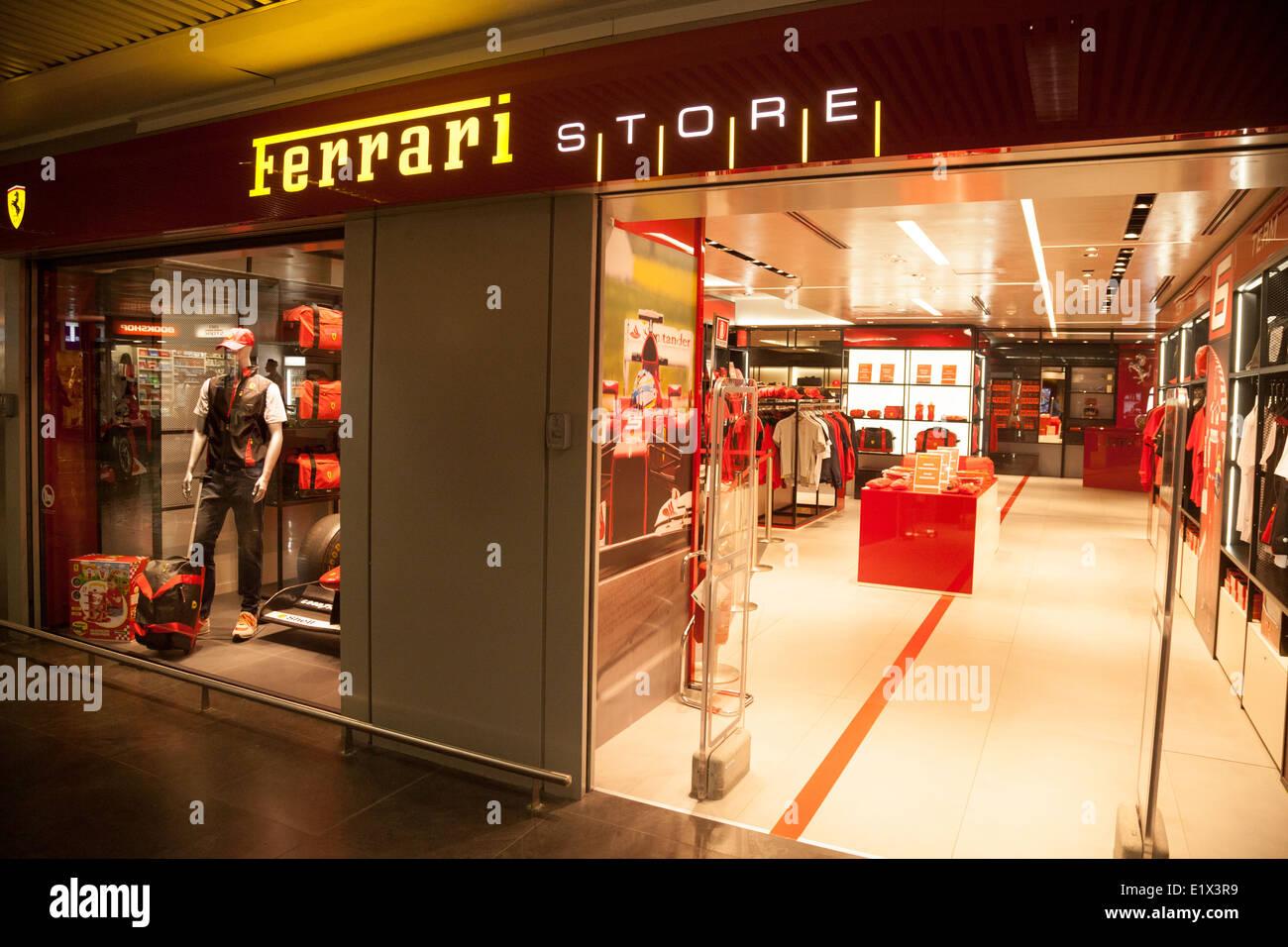 The Ferrari store or shop; Rome Fiumicino airport departure lounge, Rome Italy Europe - Stock Image