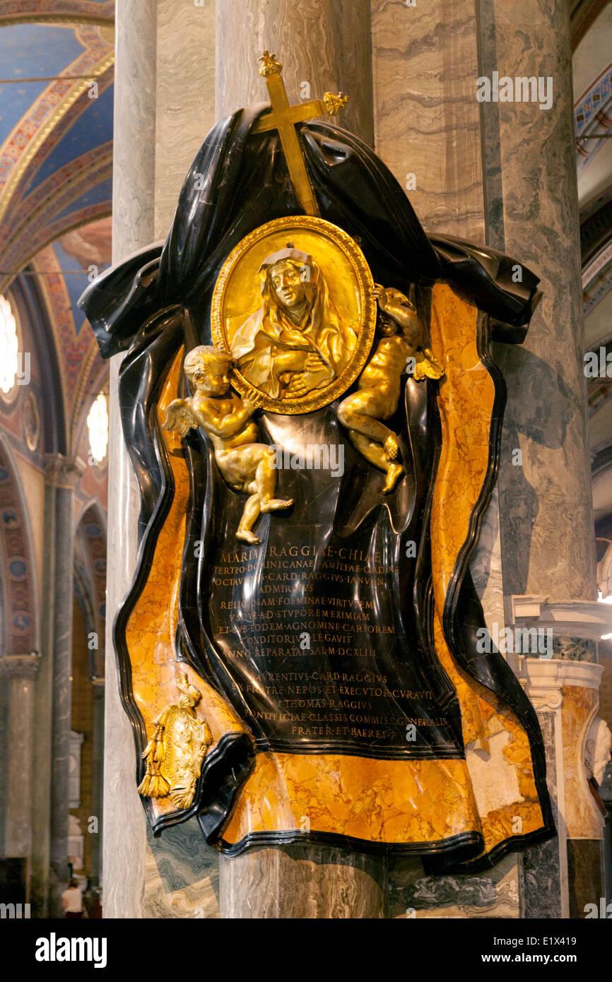 Memorial to Maria Raggi, a sculpture by Bernini; The Church of Santa Maria Sopra Minerva, Rome Italy Europe Stock Photo
