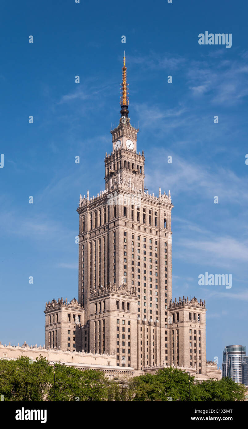 Palace of Culture and Science (PKiN) in Warsaw city center, Poland. Landmark and symbol of Stalinism and communism. - Stock Image