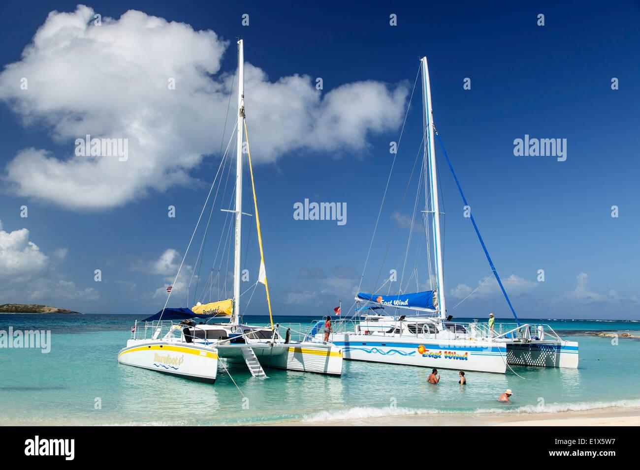 Catamarans anchored at Icacos Island, near Fajardo, Puerto Rico - Stock Image