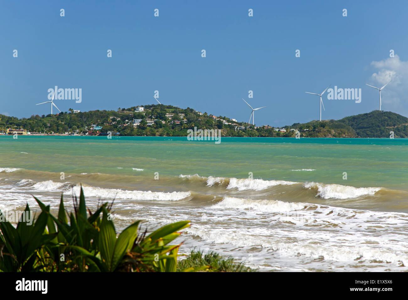 Ocean, hills and wind turbines, Naguabo, Puerto Rico - Stock Image
