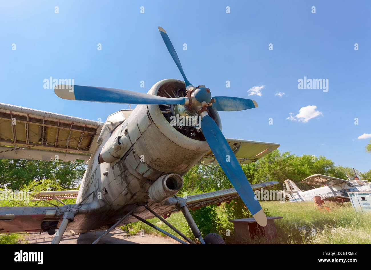 Old russian aircraft An-2 at an abandoned aerodrome in summertime. The Antonov An-2 is a Soviet mass-produced single - Stock Image