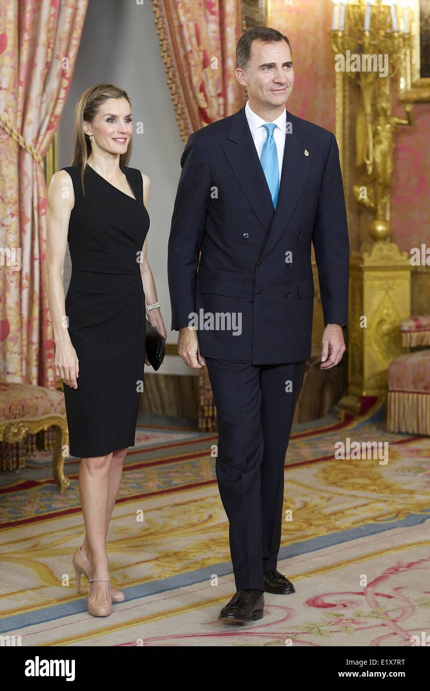 Madrid, Spain. 10th June, 2014. Prince Felipe of Spain and Princess Letizia of Spain attends a meeting with members Stock Photo