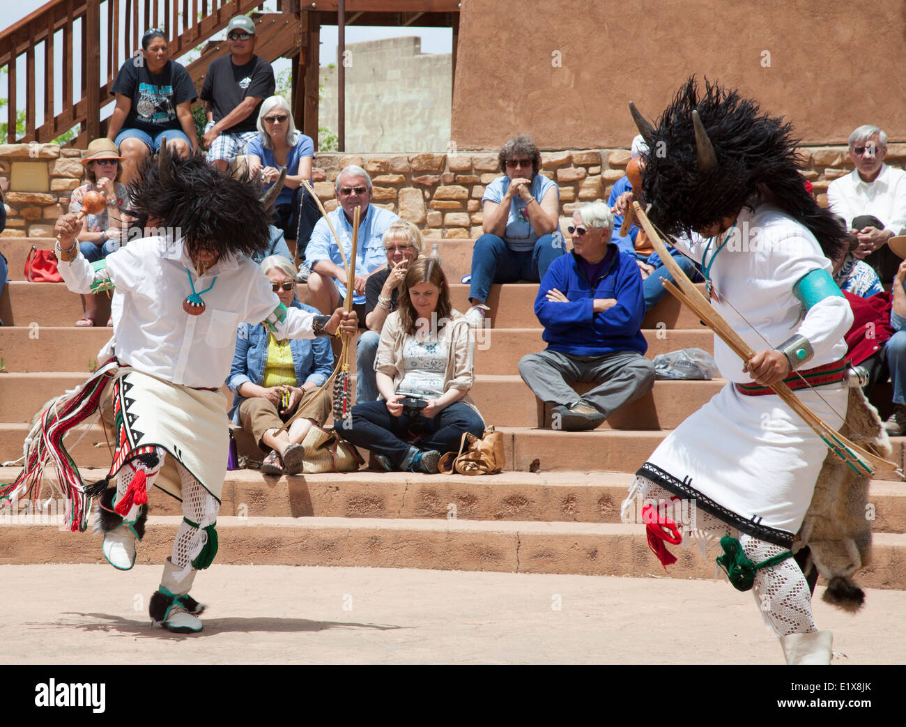 Cortez, Colorado - The Oak Canyon Dancers from Jemez Pueblo in New Mexico perform during the Indian Arts & Culture - Stock Image