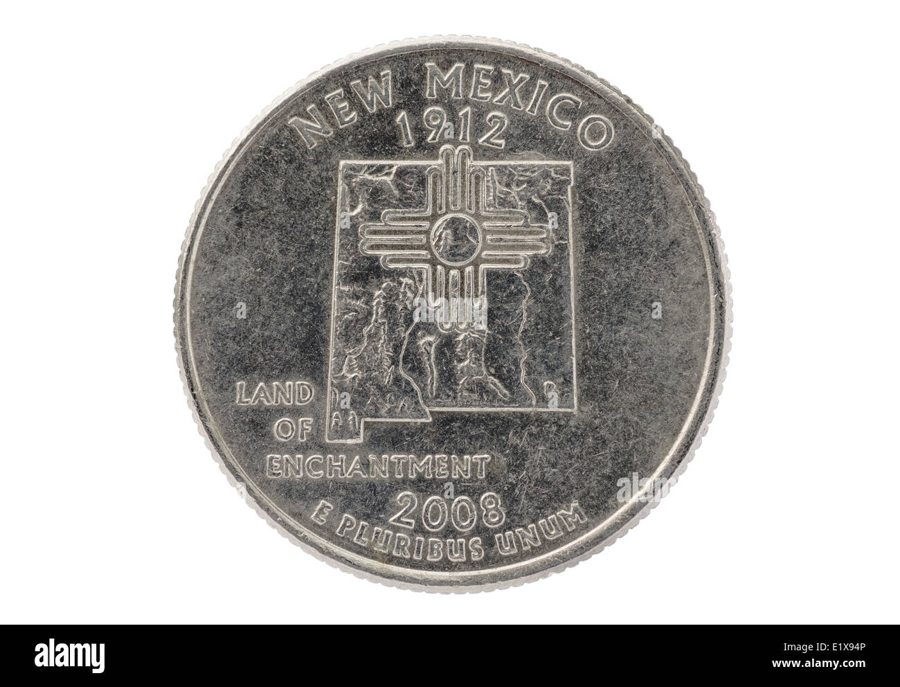 New Mexico commemorative state quarter coin isolated on white - Stock Image