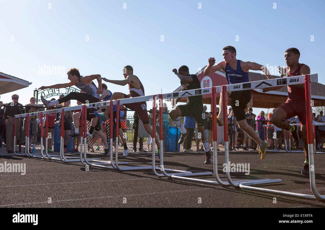 High school athletes compete in a track and filed meet in Milwaukee, Wisconsin, USA. Stock Photo