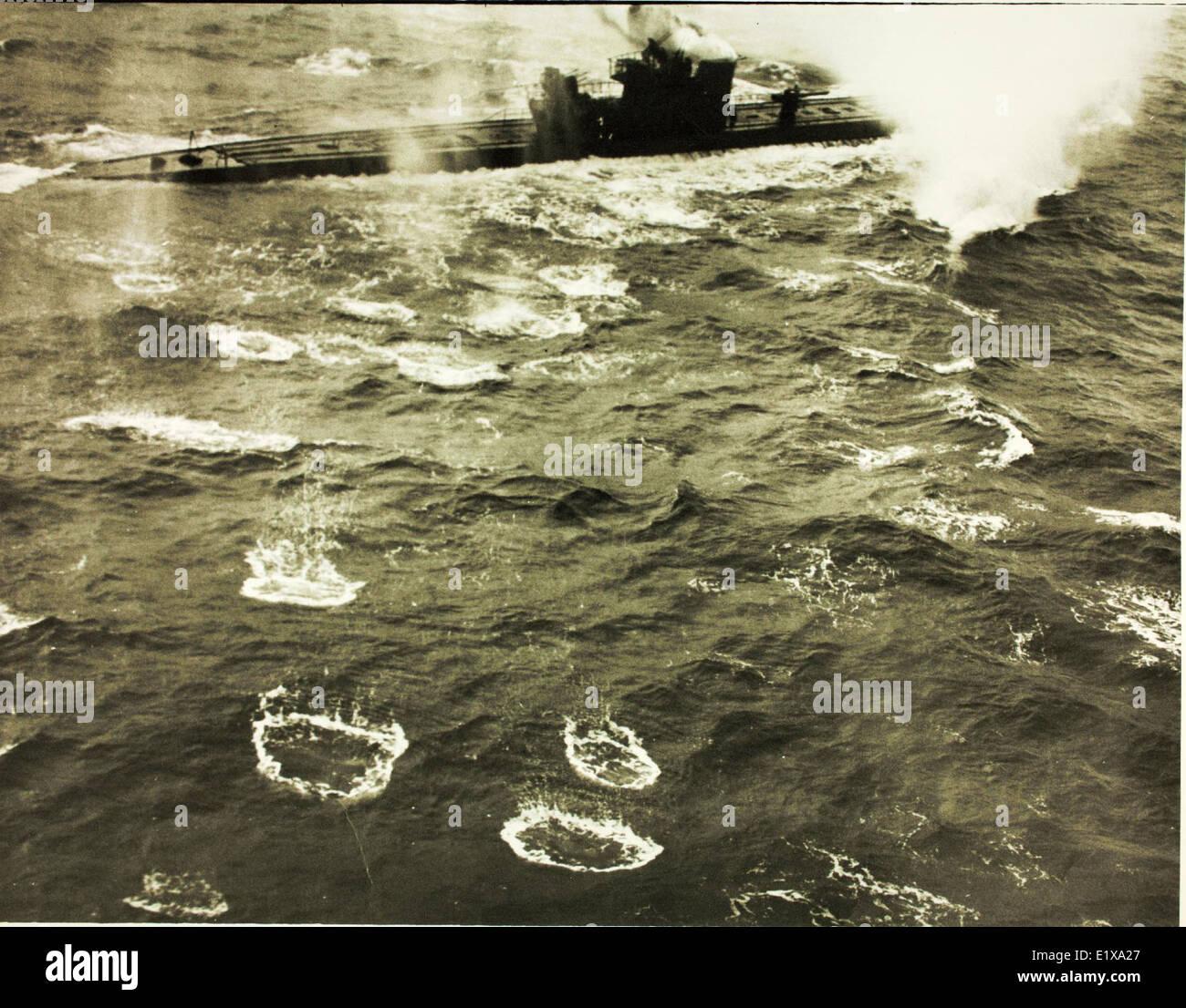 German U-848 Sinking by VPB-107 Aircraft - Stock Image