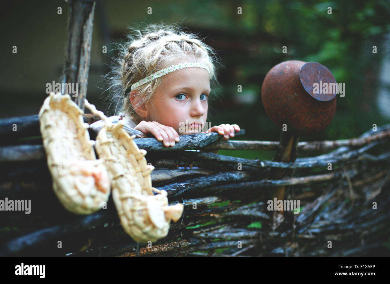 Portrait of a little girl of Slavic appearance. - Stock Image
