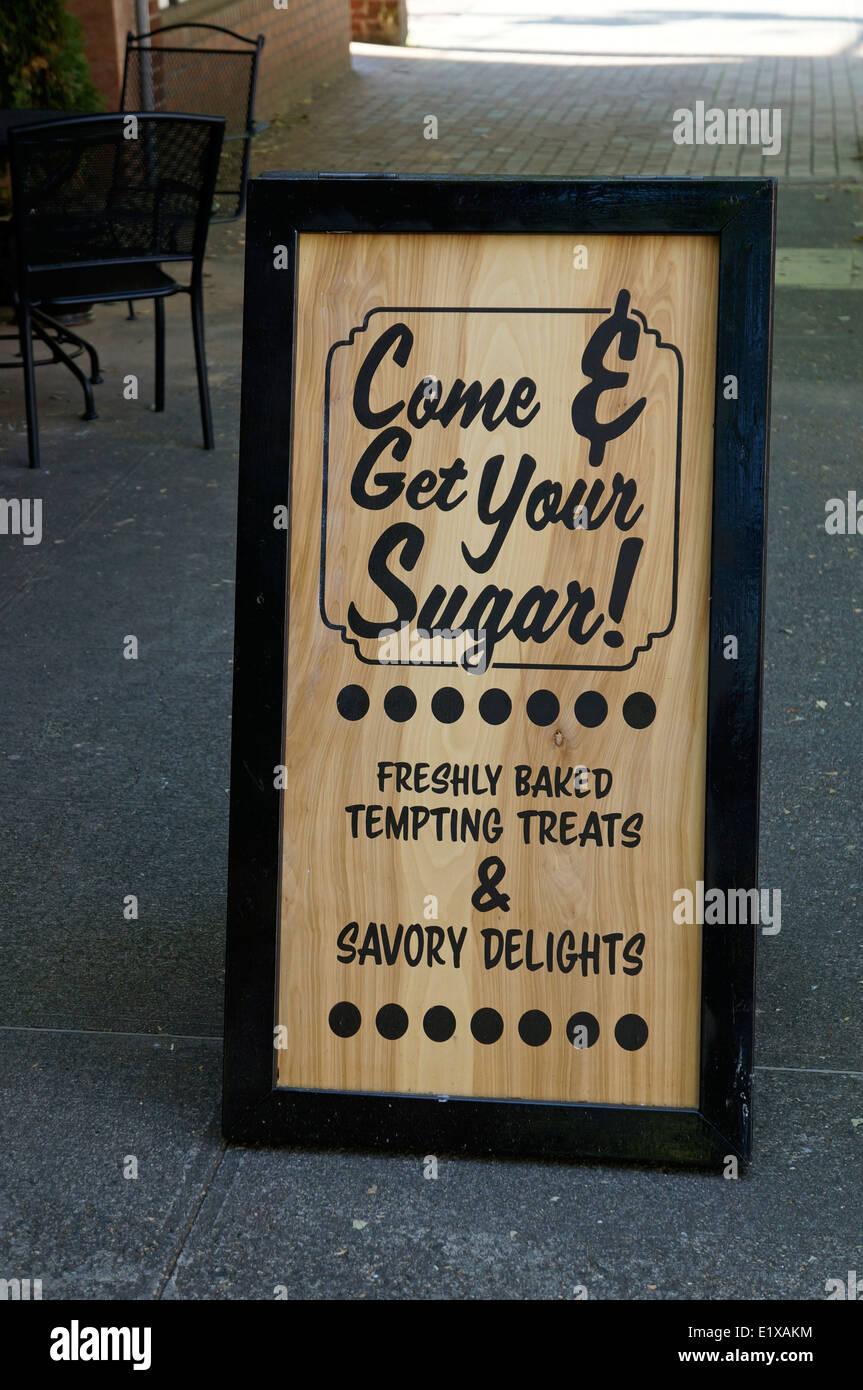 Cafe sign advertising sweet baked goods, Bellingham, Washington state, USA - Stock Image