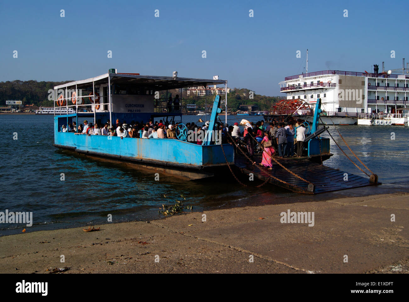Inland Water Transportation in Goa India Vintage Ferry Boat Service across the river Mandovi - Stock Image