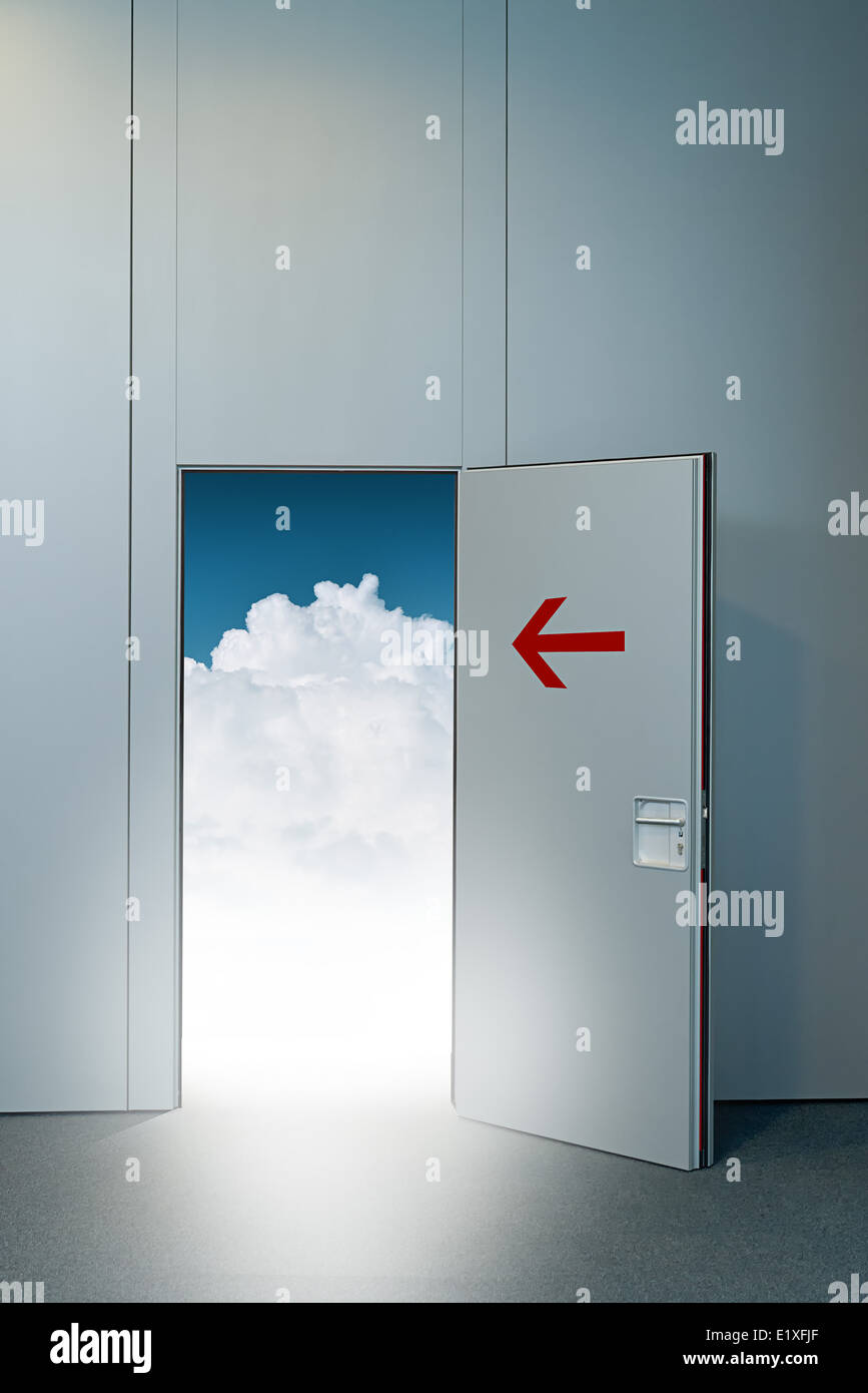 Exit door to heaven conceptual image. Leaving all problems behind walking into a new life retirement and withdrawal concept. & Exit door to heaven conceptual image. Leaving all problems behind ...