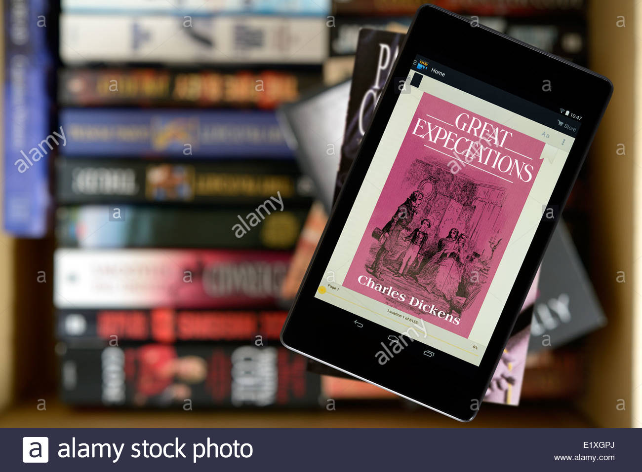 Charles Dickens novel, Great Expectations, digital book cover on PC tablet, England - Stock Image