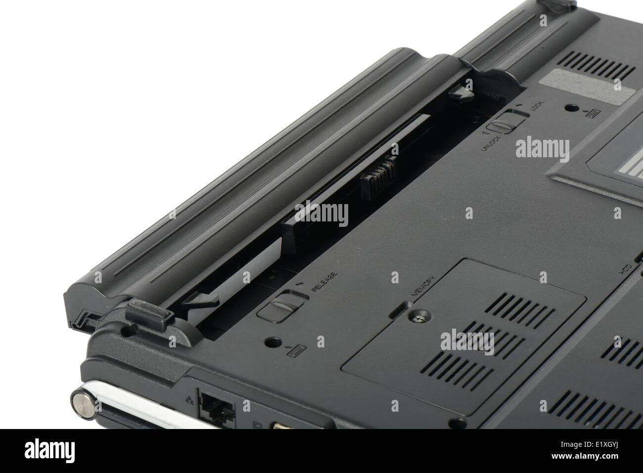 closeup of laptop battery, isolated on white - Stock Image