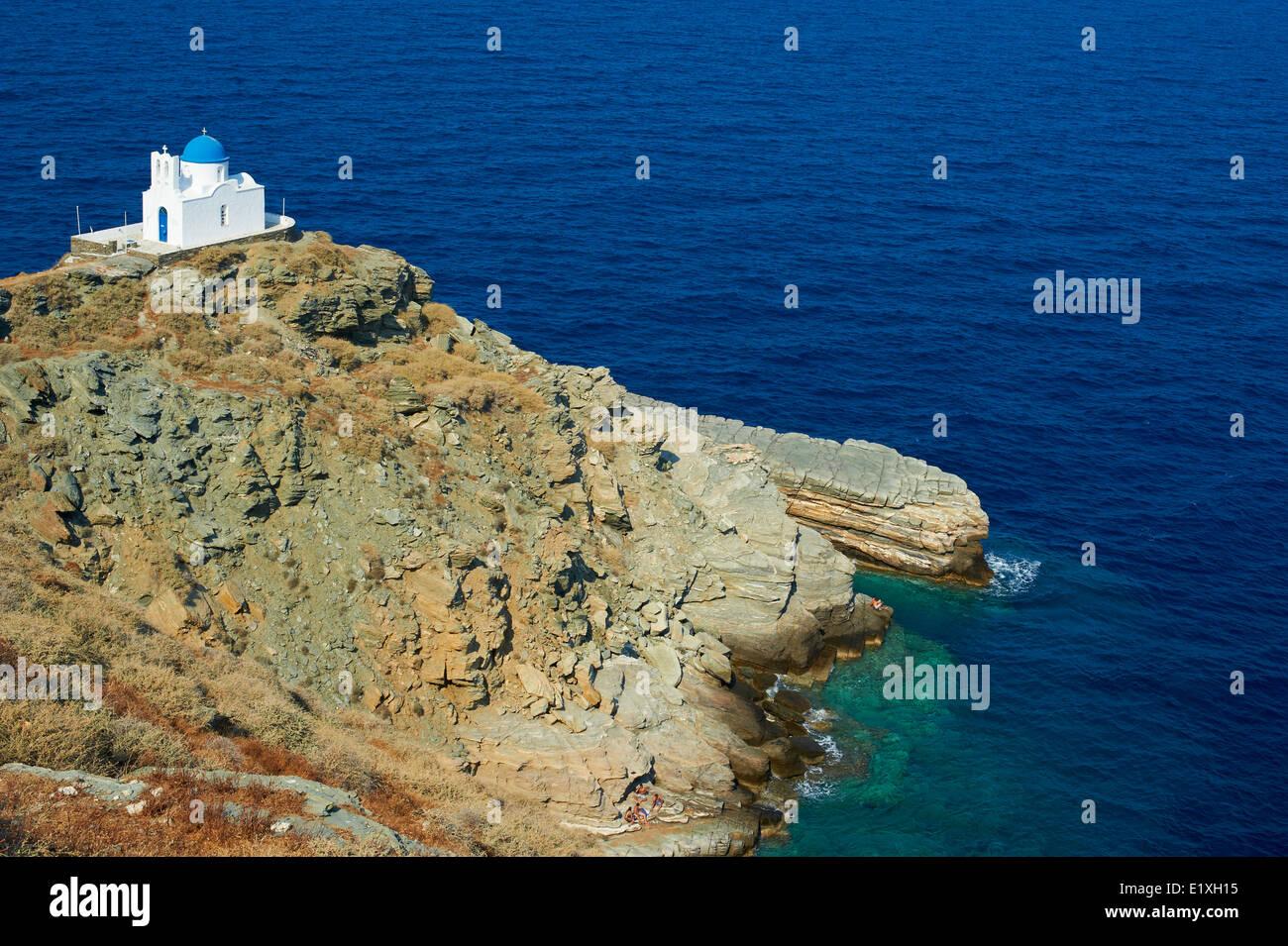 Greece, Cyclades islands, Sifnos, Seven Martyrs chapel, Kastro village - Stock Image