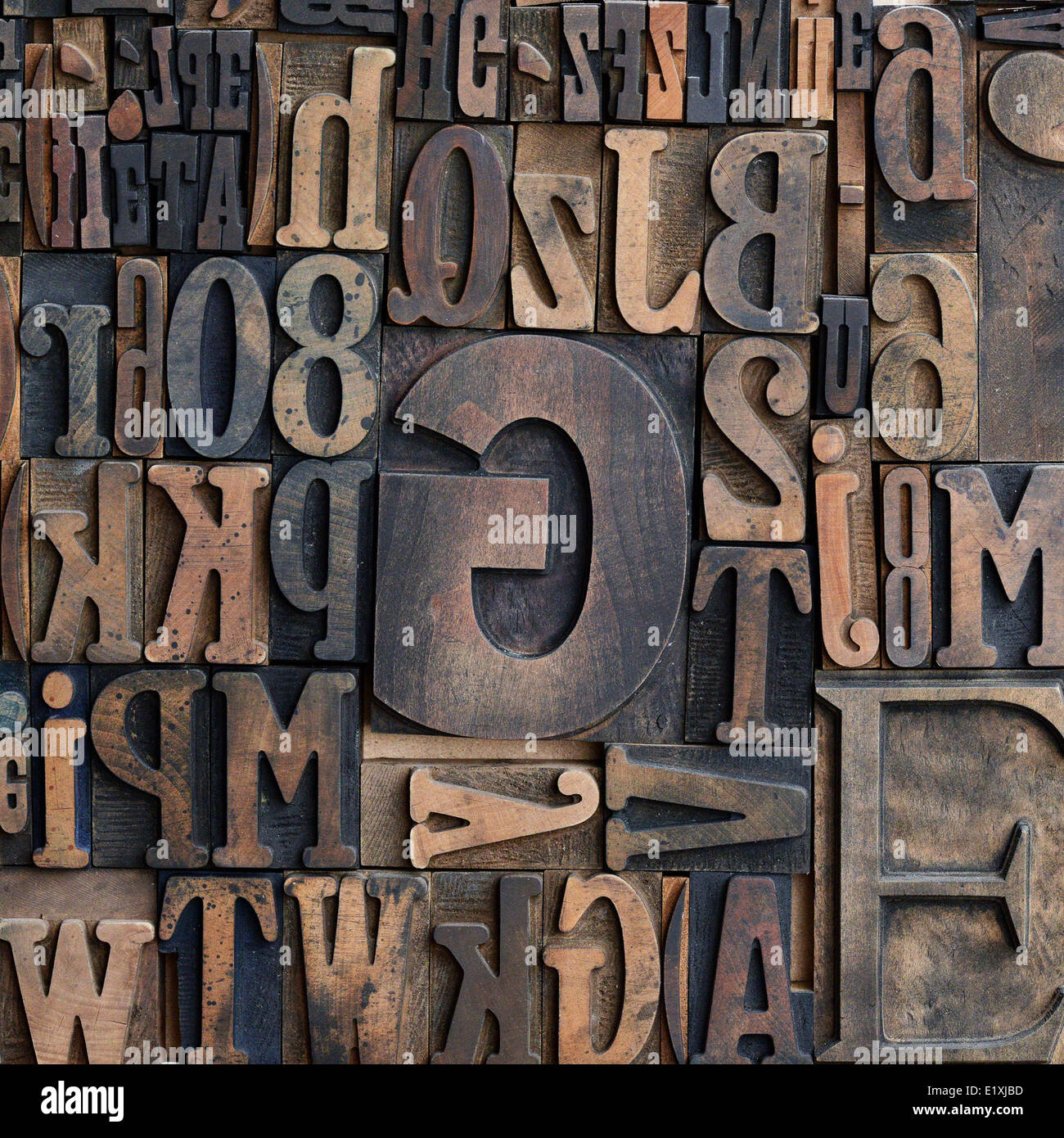 Wooden printers typeface letters - Stock Image