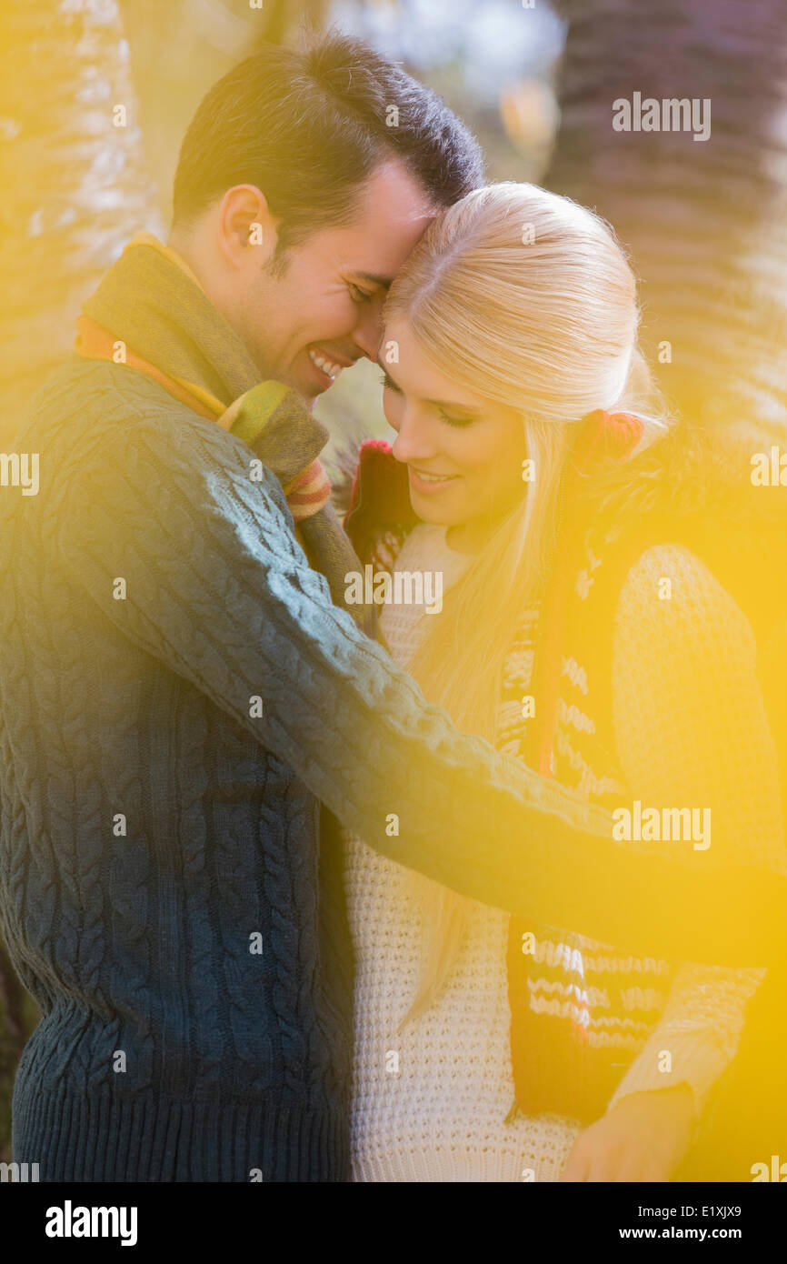 Romantic young couple smiling in park during autumn - Stock Image
