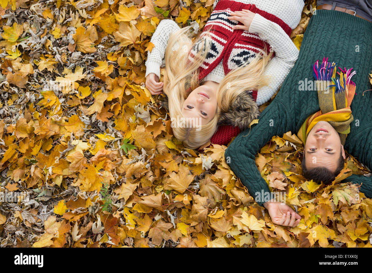 High angle portrait of young couple lying on autumn leaves at park - Stock Image