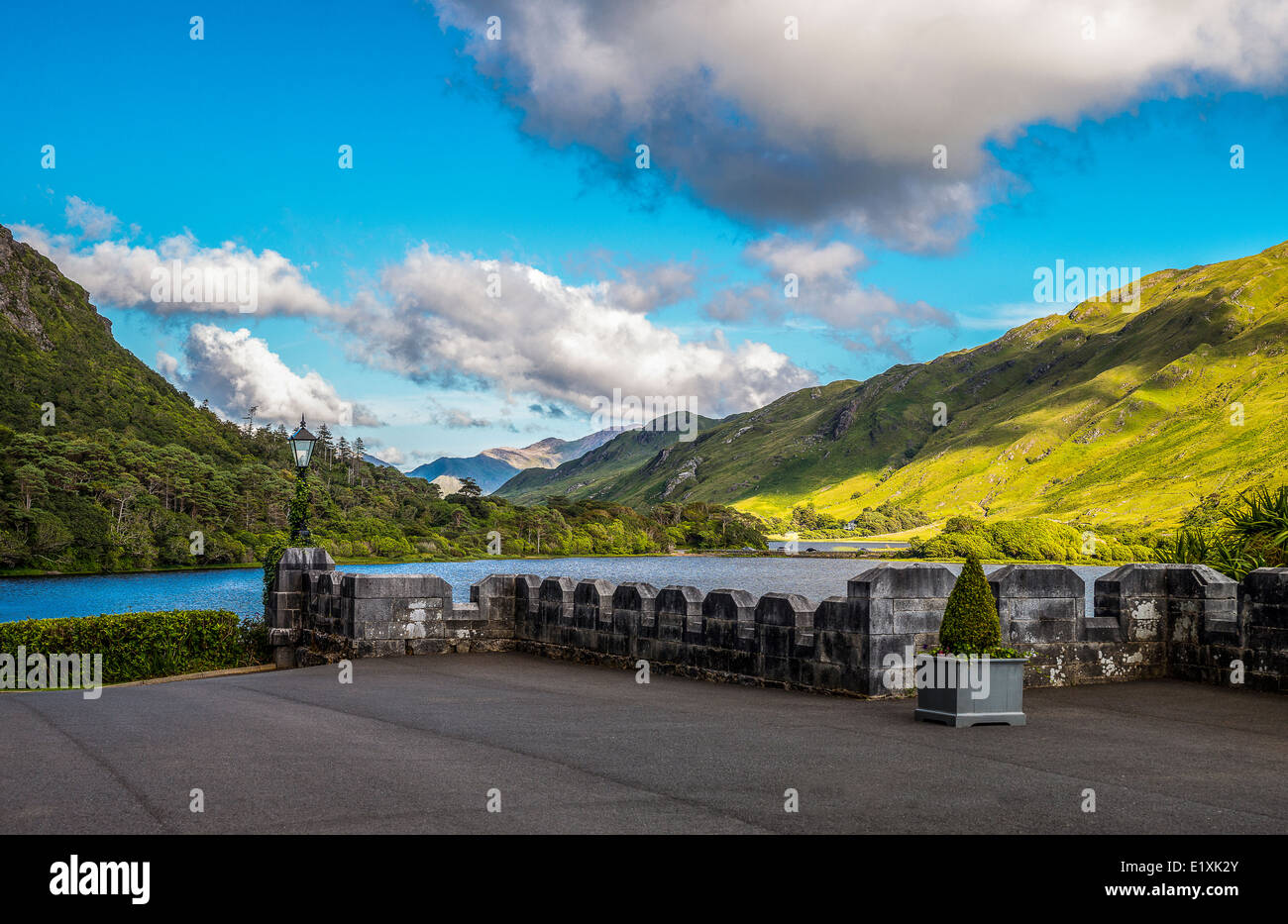 Ireland, Galway county, Connemara area, the Pollacappul lake seen from the Kylemore abbey - Stock Image