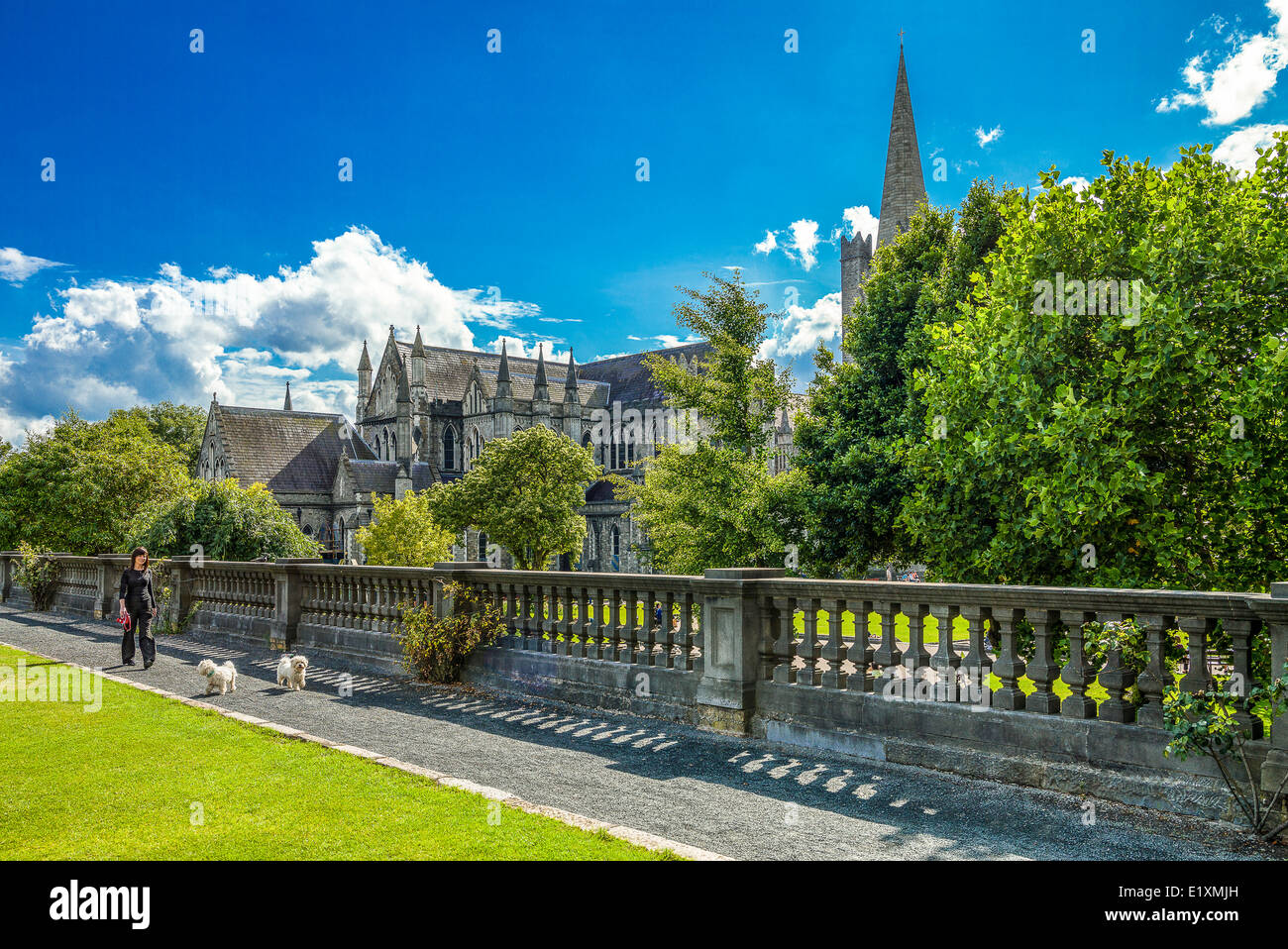 Ireland, Dublin, the St Patrik's gardens and cathedral - Stock Image