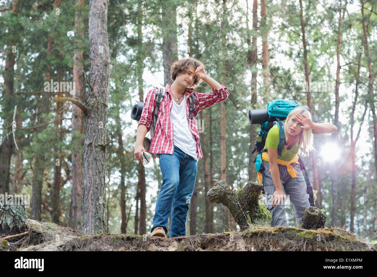 Tired hiking couple in forest - Stock Image