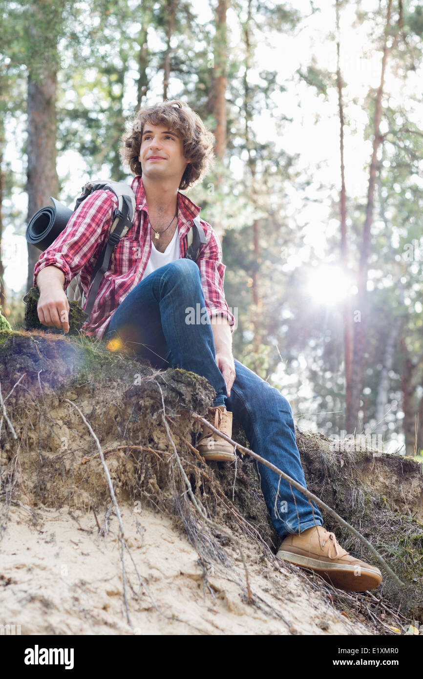 Full length of male hiker looking away while sitting on cliff in forest - Stock Image