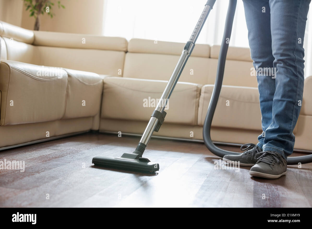 Low section of man cleaning hardwood floor with vacuum cleaner - Stock Image
