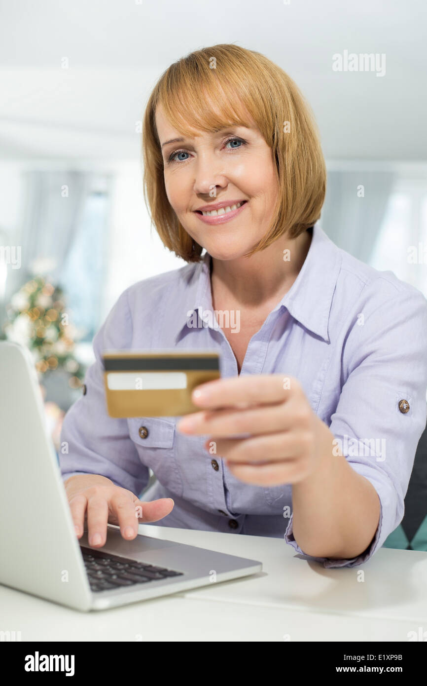 portrait of happy woman shopping online at home during christmas rh alamy com online at home work online at home business