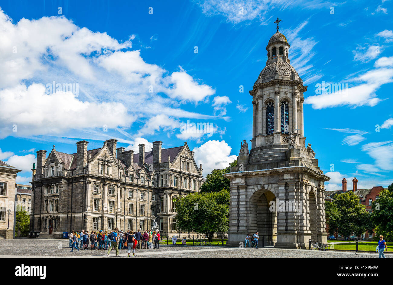 Ireland, Dublin, the Campanile of the Trinity College - Stock Image