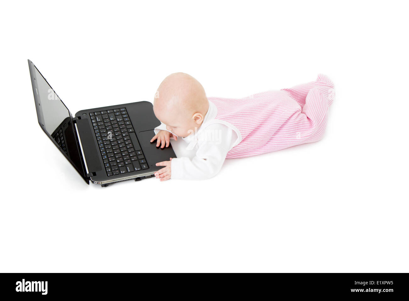 baby with laptop - Stock Image