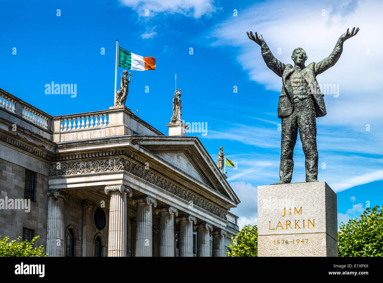 Ireland, Dublin, O'Connel street, the Jim Larkin monument - Stock Image