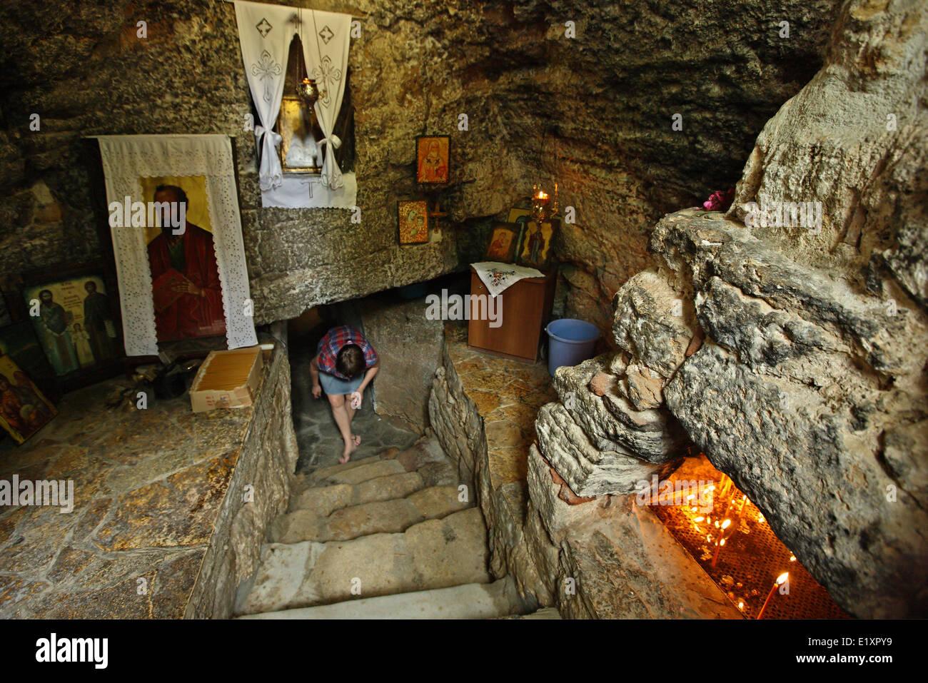 The underground church (cave) of Saint Paul (Agios Pavlos), at Nea Fokea (Fokaia), Halkidiki (Chalkidiki), Macedonia, - Stock Image