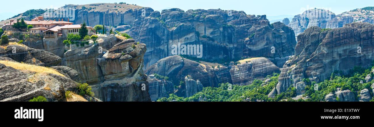 Meteora rocky monasteries summer panorama. - Stock Image