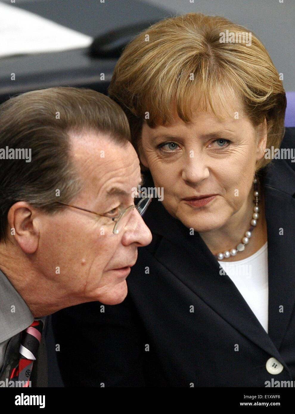 Chancellor Angela Merkel (CDU) and German minister of Labour Franz Müntefering (SPD) participate in the debate - Stock Image