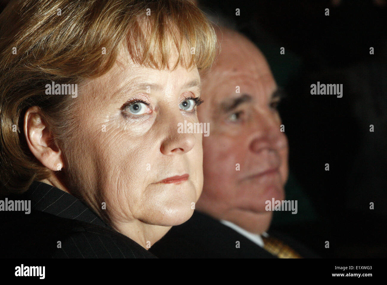 Chancellor Angela Merkel (CDU) and former chancellor Helmut Kohl sit next to each other on the occasion of Rudolf - Stock Image