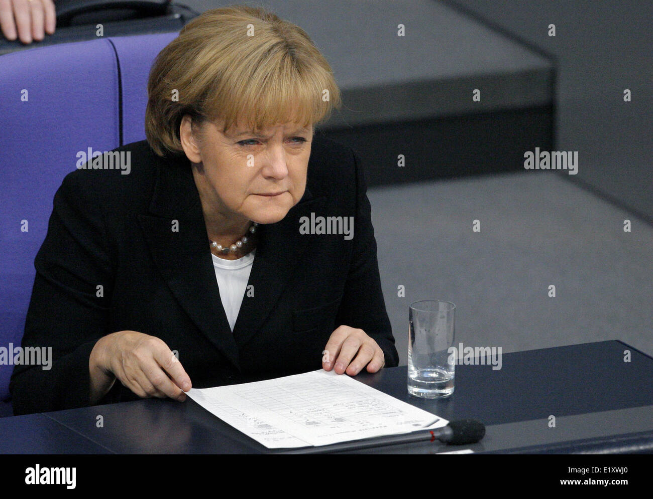 Chancellor Angela Merkel (CDU) follows the debate in the Bundestag from the government benches (17.10.2008). The - Stock Image