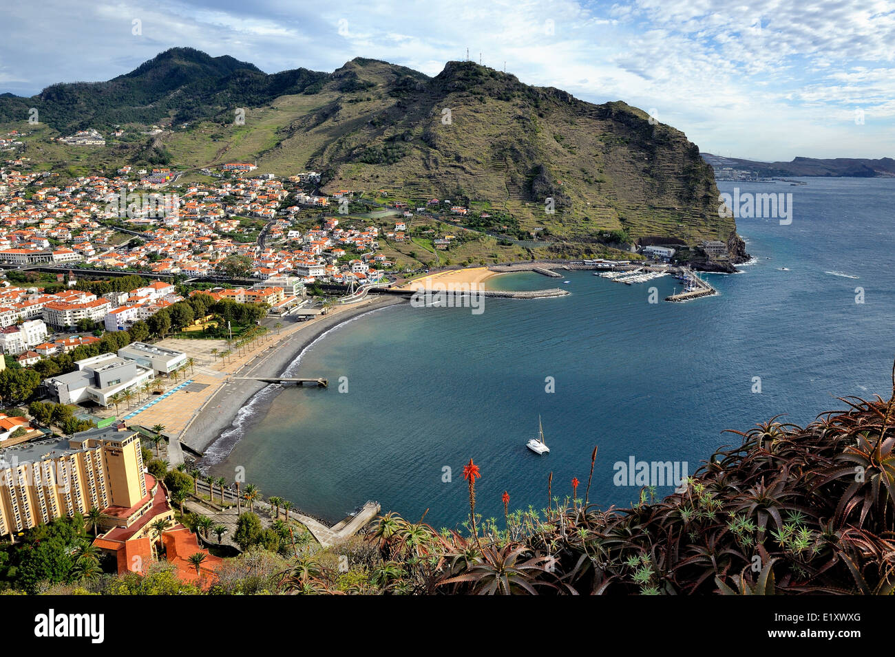 Madeira Portugal. Looking down on the coastal city of Machico Stock Photo