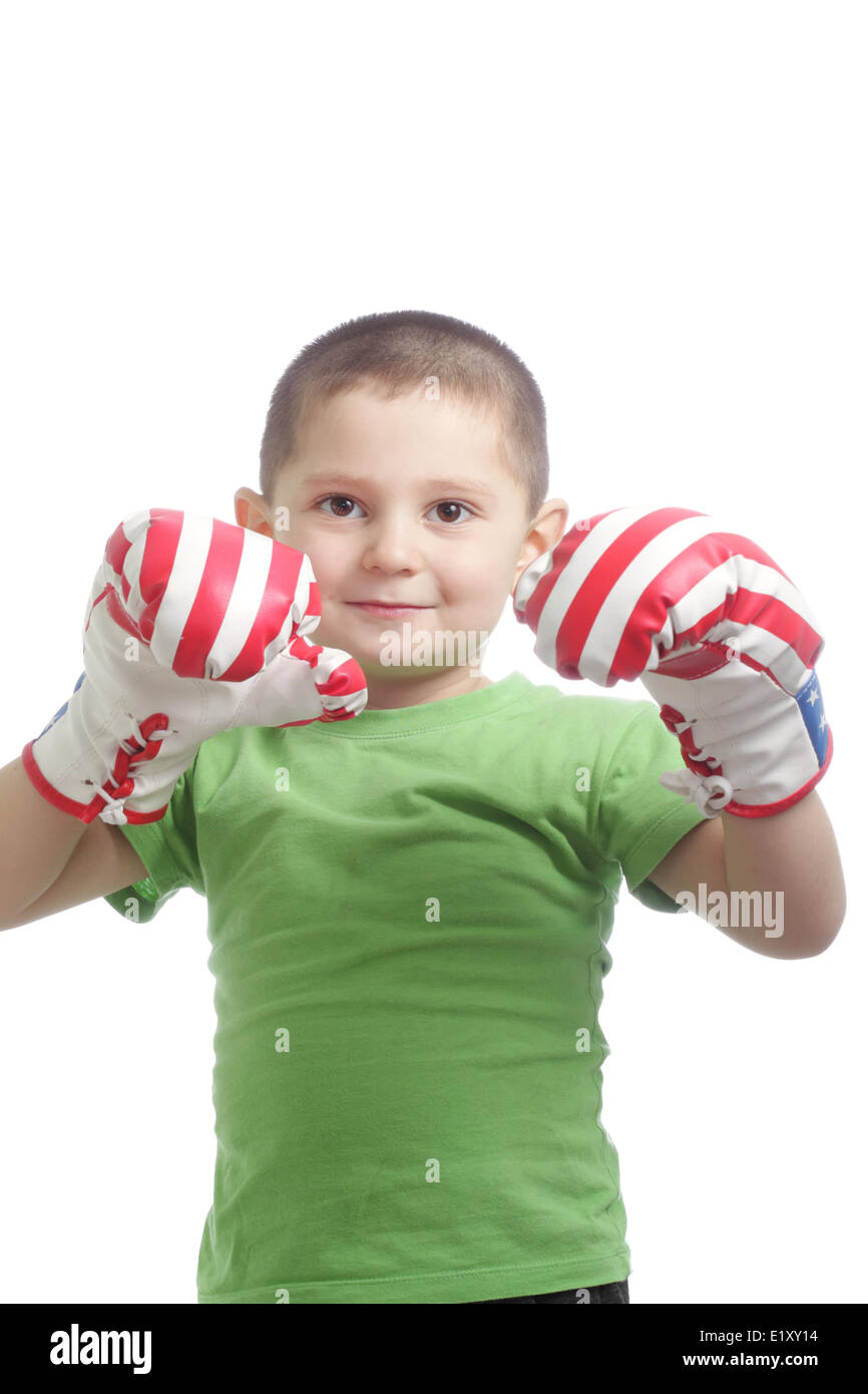 Little boxer gloves at face Stock Photo