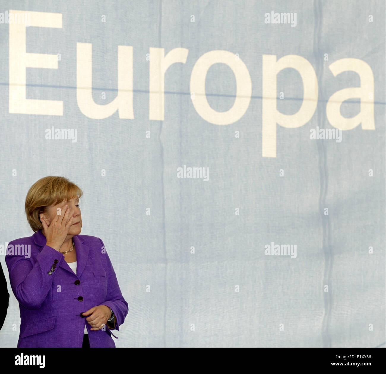 Chancellor Angela Merkel (CDU) stands below the writing 'Europa' during the final event of the election - Stock Image