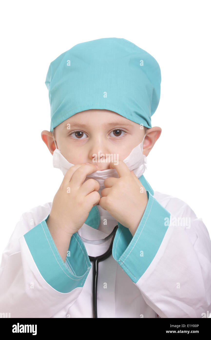 Adjusting respirator - Stock Image