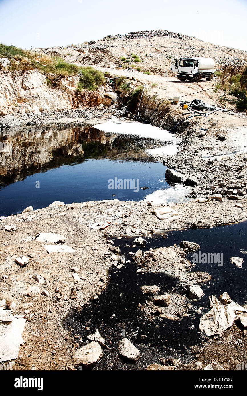 Leachate- liquid waste from a landfill site - Stock Image