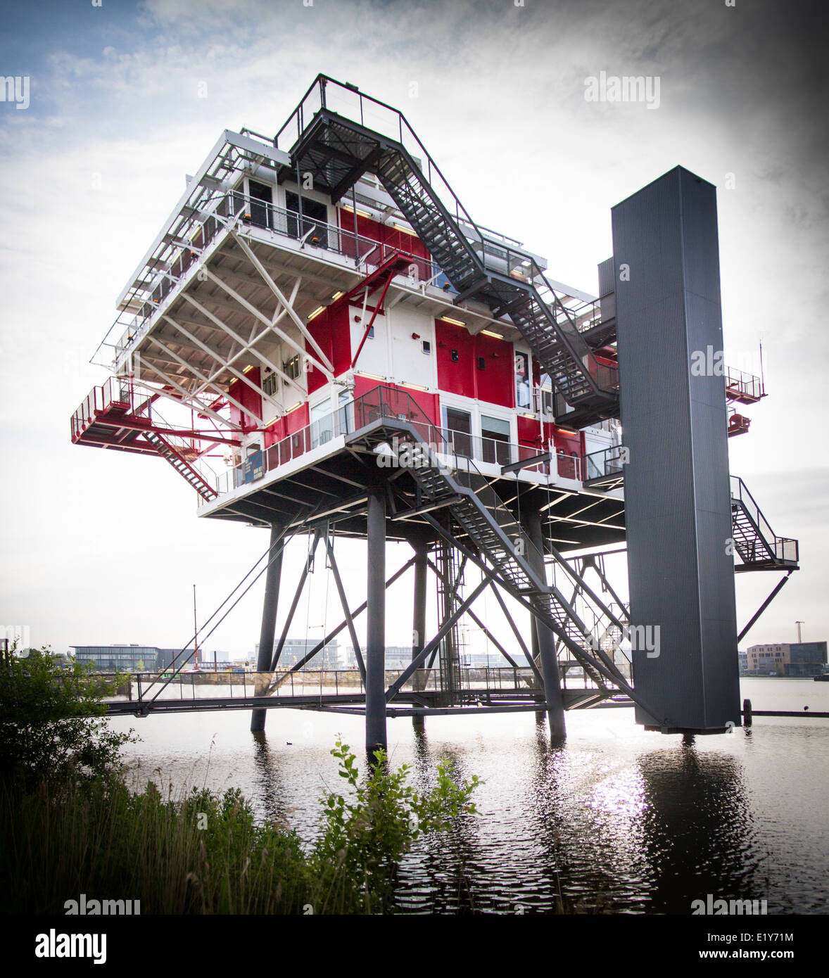 REM Eiland Former North Sea Platform now a restaurant in the Houthavens Amsterdam - Stock Image