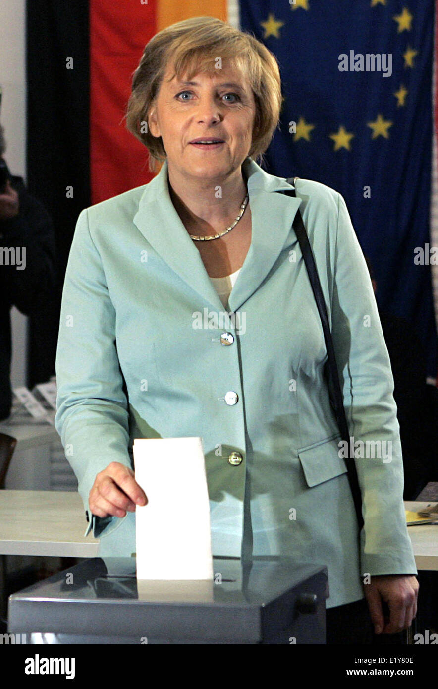CDU chair woman and candidate for the position of chancellor Angela Merkel casts her vote for the election of Bundestag - Stock Image