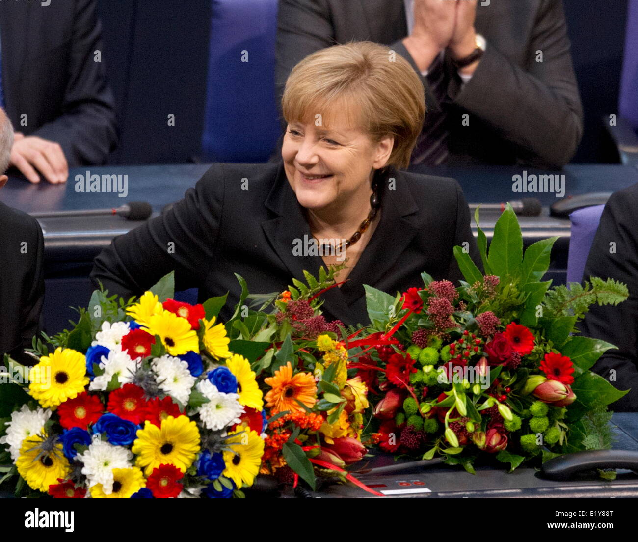 Dr. Angela Merkel takes her oath after having been elected as chancellor in the Bundestag on the 17th of December - Stock Image