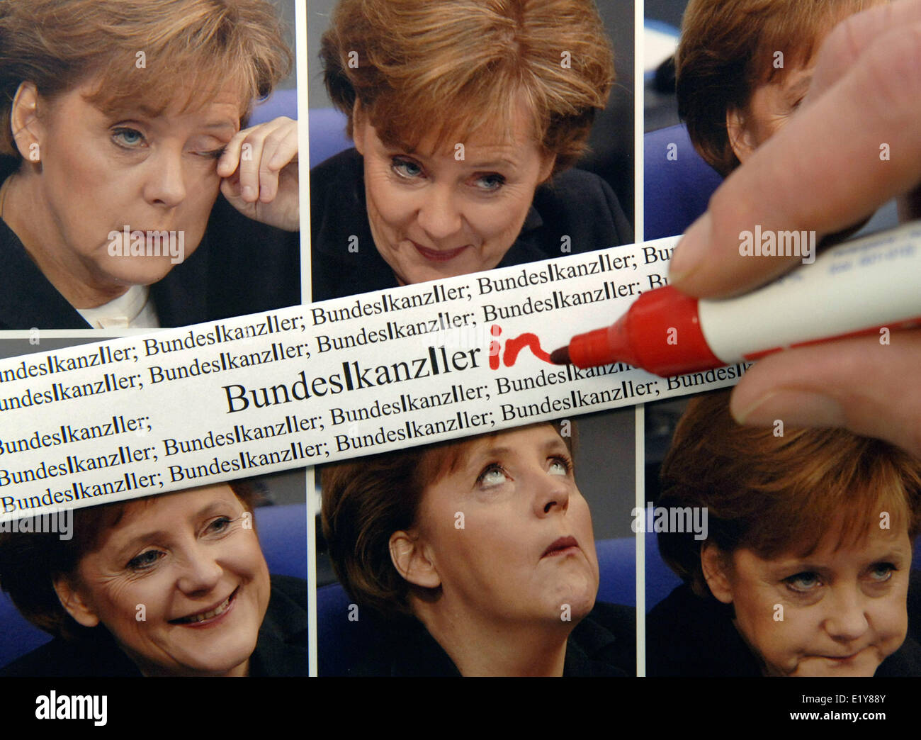 «Bundeskanzlerin» (female chancellor) is the word of the year 2005 (symbol picture 16.12.2005). The word - Stock Image