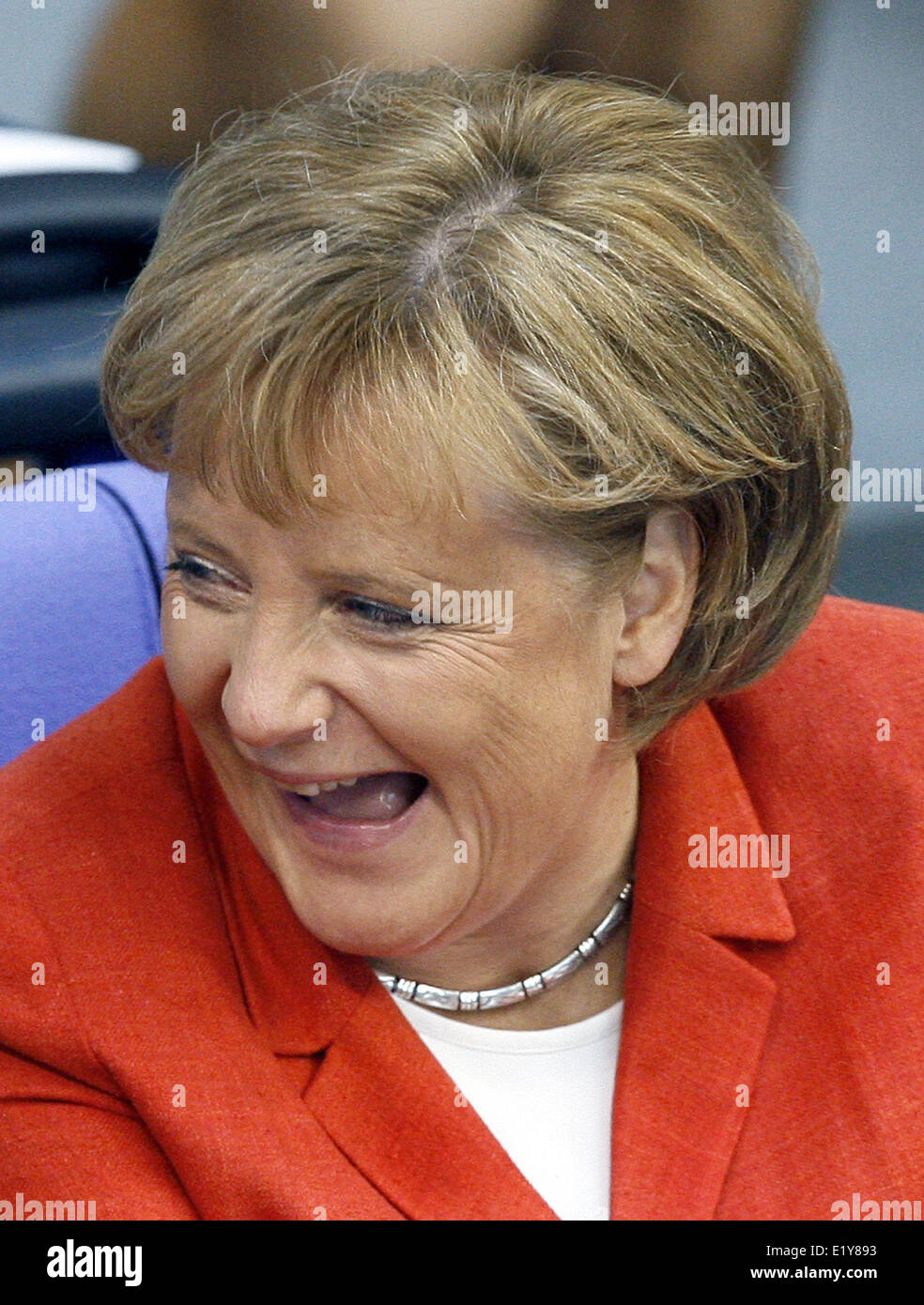 Chancellor Angela Merkel laughs during the debate about climate protection in the German Bundestag (26.04.2007) - Stock Image