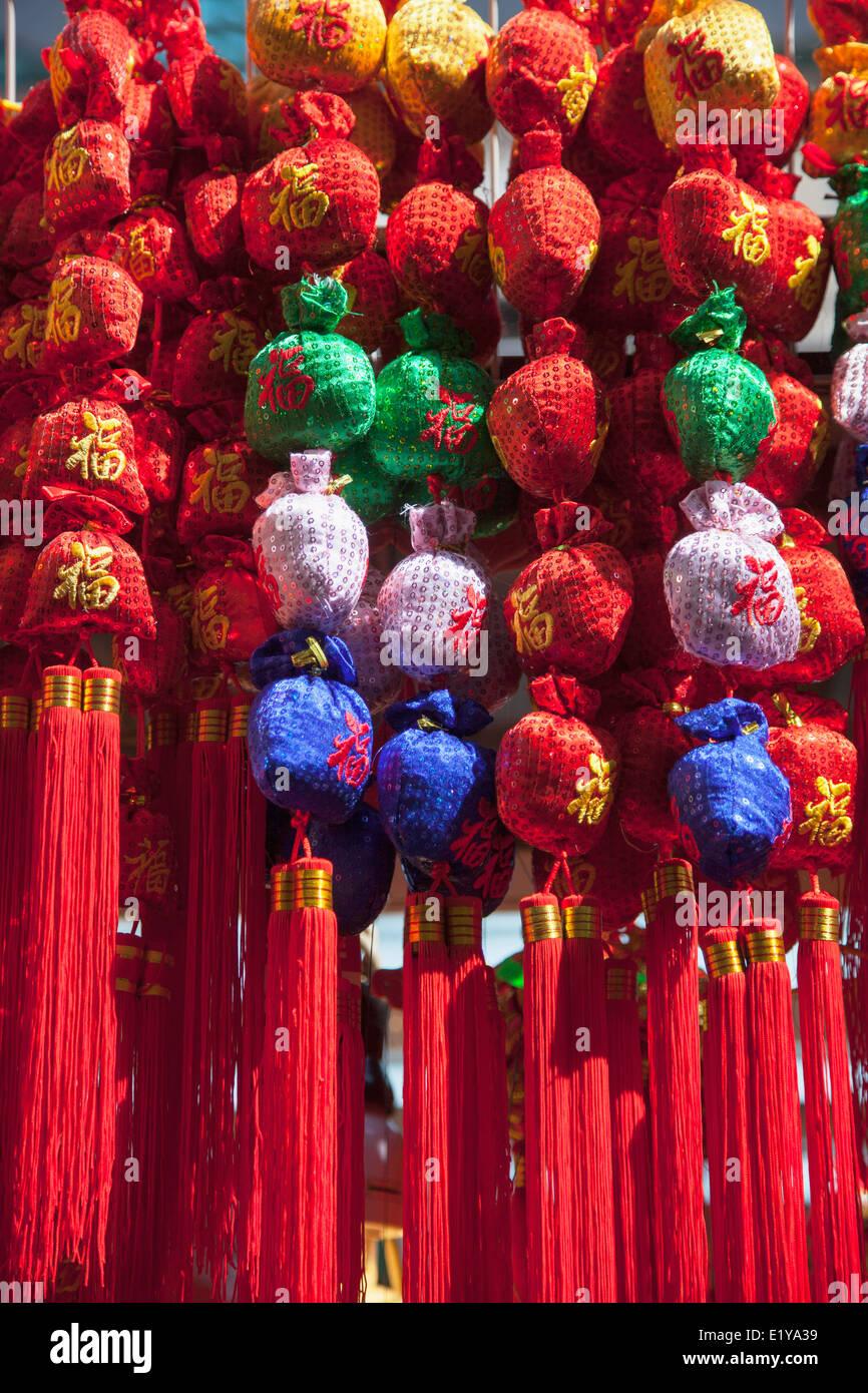 Chinese New Year decorations at Fa Yuen Street Market, Mongkok, Kowloon, Hong Kong - Stock Image